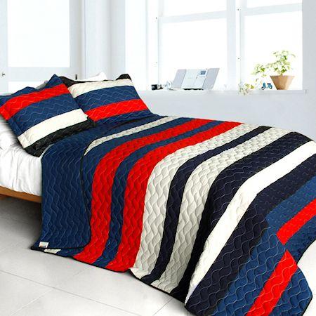 Americana Red White Blue Striped Teen Boy Bedding Full