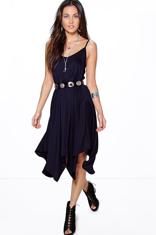 bcacb3249a643 Asymmetric Hem Strappy Swing Dress   Womens Fashion Designs ...