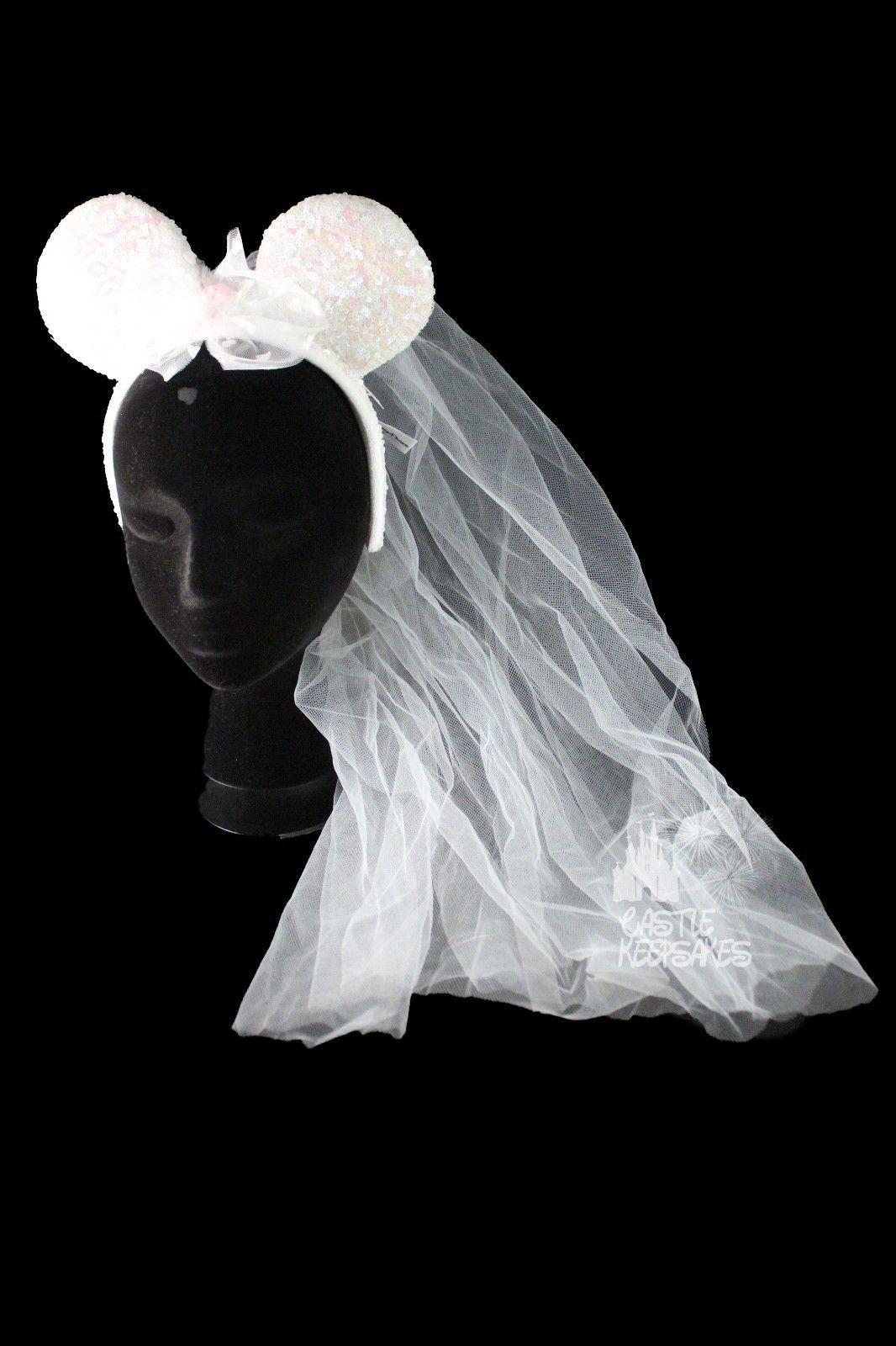 Disney Mickey Minnie Mouse Wedding Bride Ears Headband With Veil New