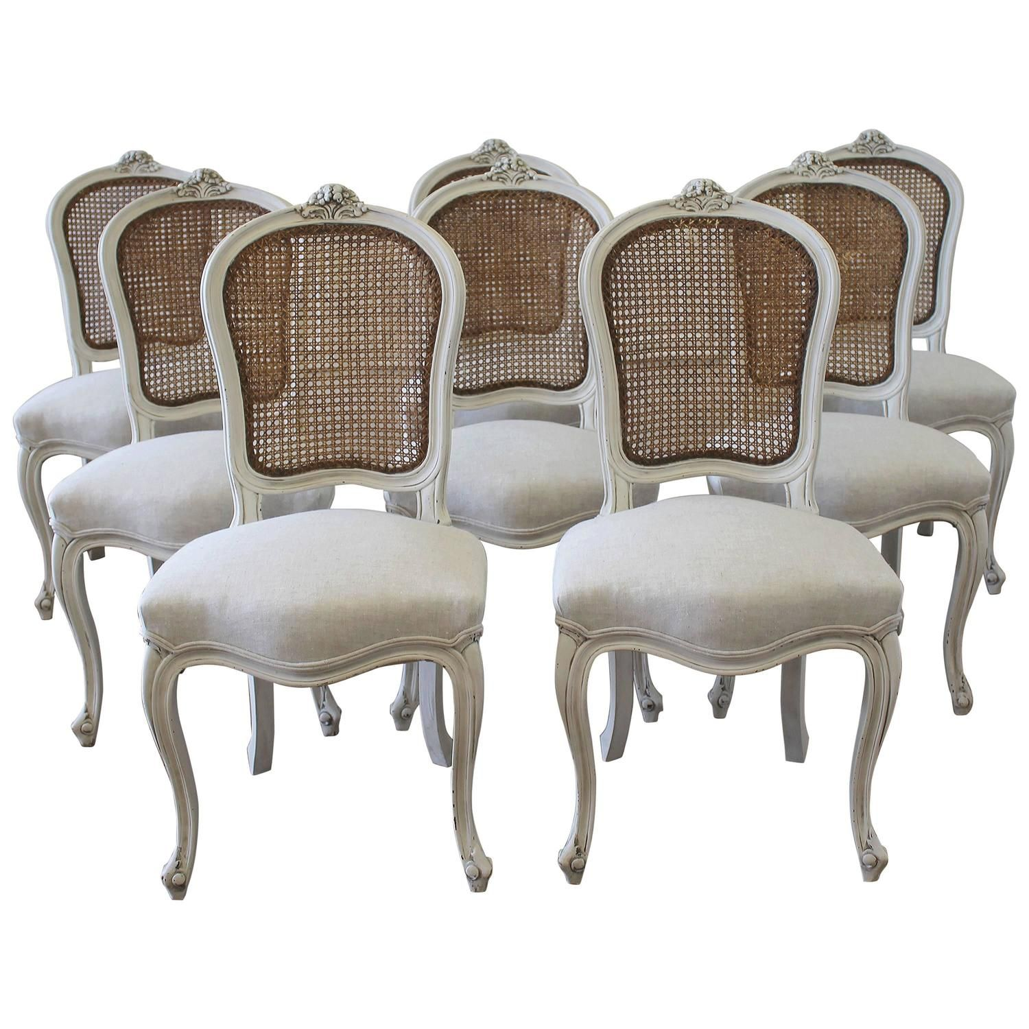 Set of Eight Vintage French Painted Cane Back Dining ...