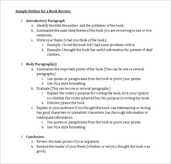 Sample Book Outline Sample Outline For A Book Review Best Line
