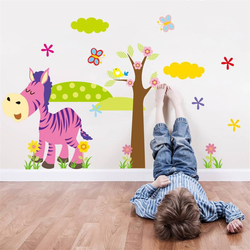 Cartoon Animal Tree D Wall Stickers Kids Baby Children Room Decor - Vinyl wall decals animals