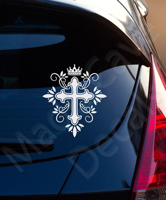 Cross Crown King Christian Decal Car Laptop By