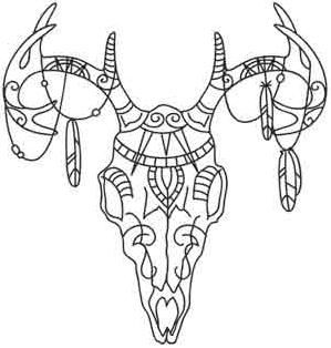 Skulls And Skeletons Urban Threads Unique And Awesome Embroidery Designs Skull Coloring Pages Deer Skulls Deer Skull Tattoos