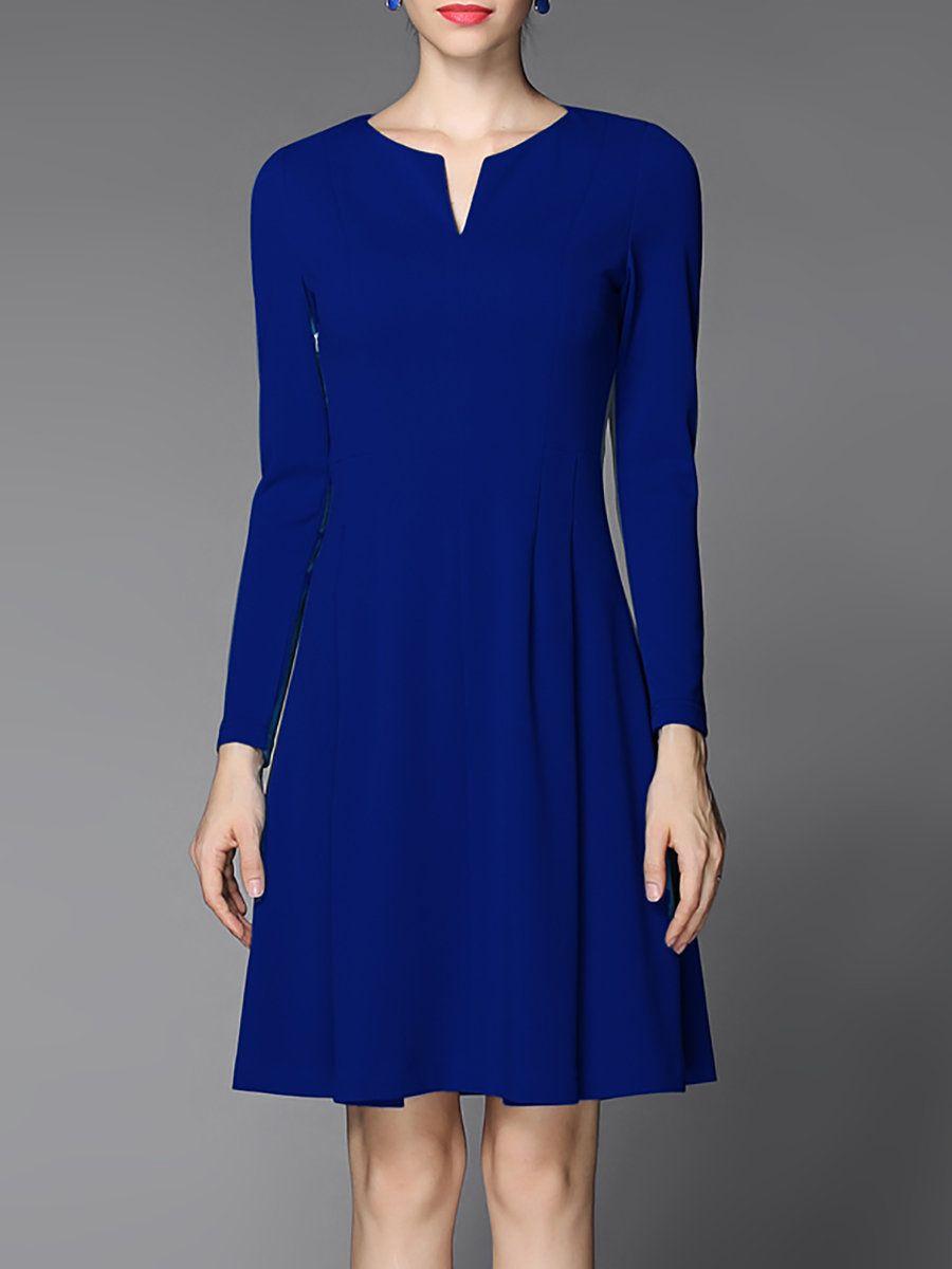 #AdoreWe #StyleWe GYALWANA Royal Blue A-line Solid Long Sleeve Mini Dress -
