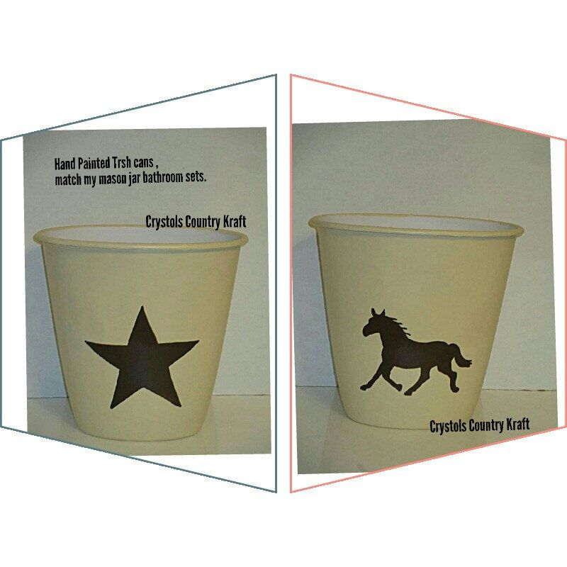 New Western Hand Painted Waste Baskets Western Star And Western Horse Western Cowboy Boot Trash Cans For Hom Mason Jars Mason Jar Art Western Bathroom Decor