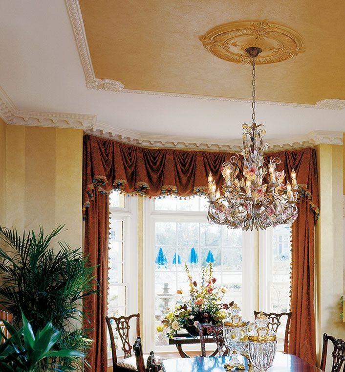 Dining Room Ceiling Decor With Decorative Molding And Medallion Interiors Medallions Ceilingmedallions Ceilingdecor