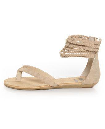 Cream Braided Ankle Wrap Thong Sandals.