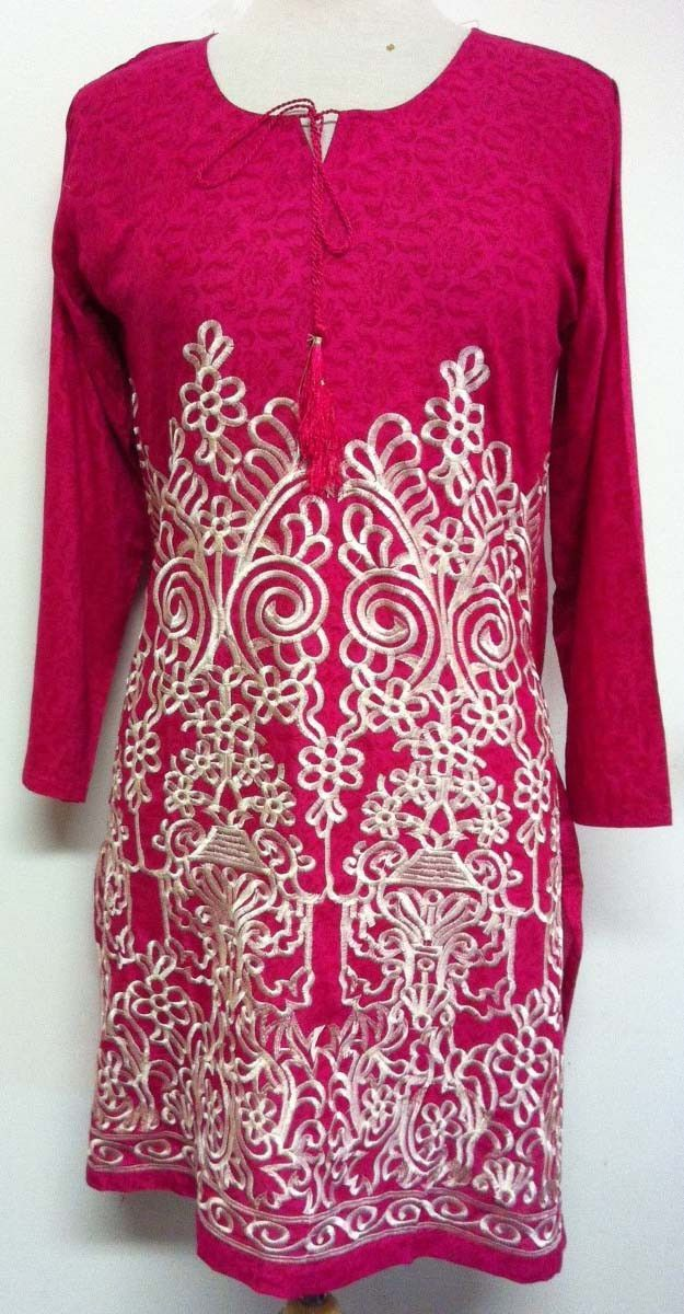 Eeshal Elegant Long Sleeved Embroidered Tunic Top