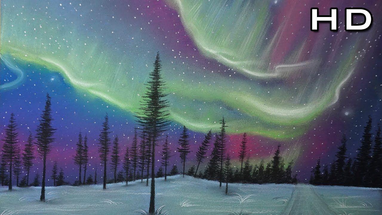 Como Dibujar Y Pintar La Aurora Boreal Al Pastel Paso A Paso Northern Lights Paisaje Tuto Auroras Boreales Arte En Colores Pastel Al Oleo Imagenes De Cielo