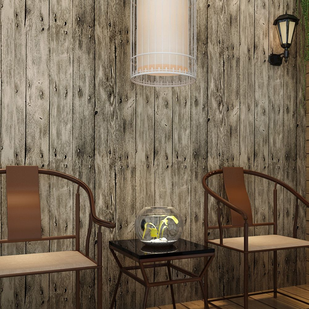 Haokhome Vintage Faux Wood Panel Wallpaper Rolls Khaki Multi 3d Realistic Paper Murals Hom Wall Decor Living Room Living Room Decor Rustic Wood Grain Wallpaper