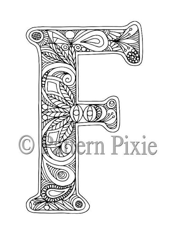 Adult Colouring Page Alphabet Letter F