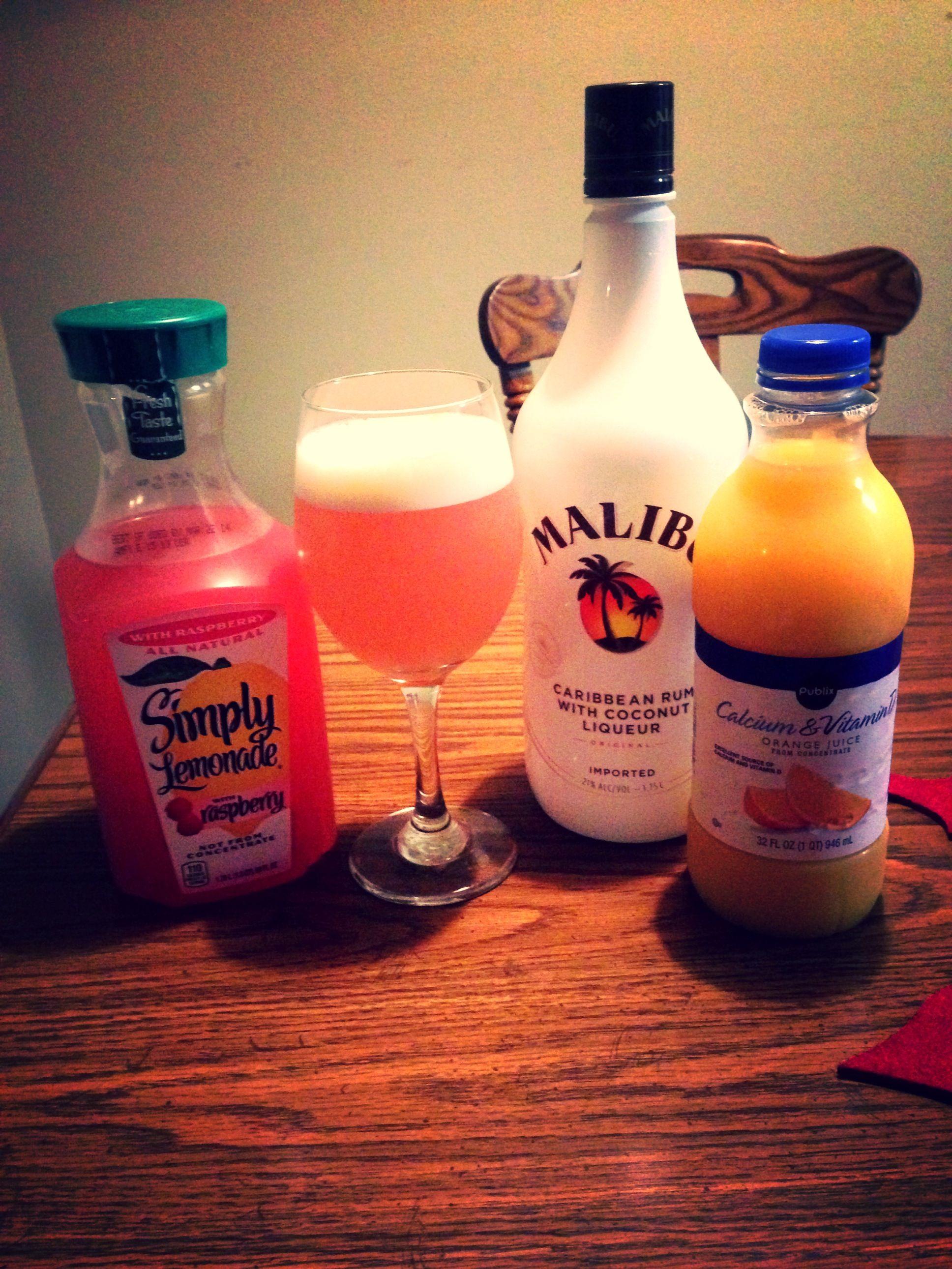 Malibu Coconut Rum Raspberry Lemonade Orange Juice Ice And Blend Fruity Drinks Coconut Rum Malibu Rum Drinks