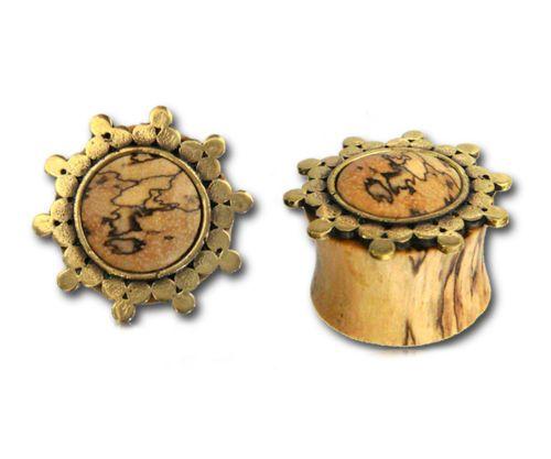 PAIR-WOOD-BRASS-ORNATE-Sun-PLUGS-TUNNELS-GAUGES-Ear-Lobe-Antique-PALINA-DESIGN