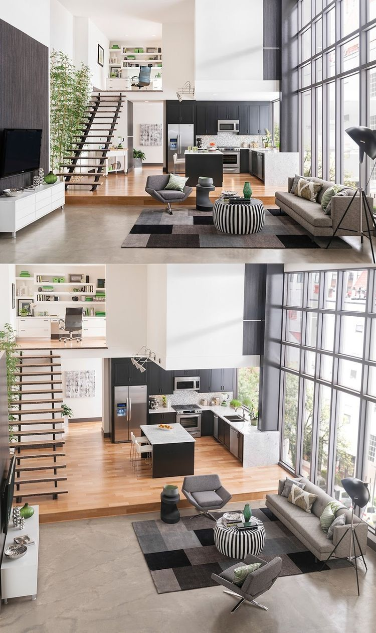 Airy open loft in greyscale and green