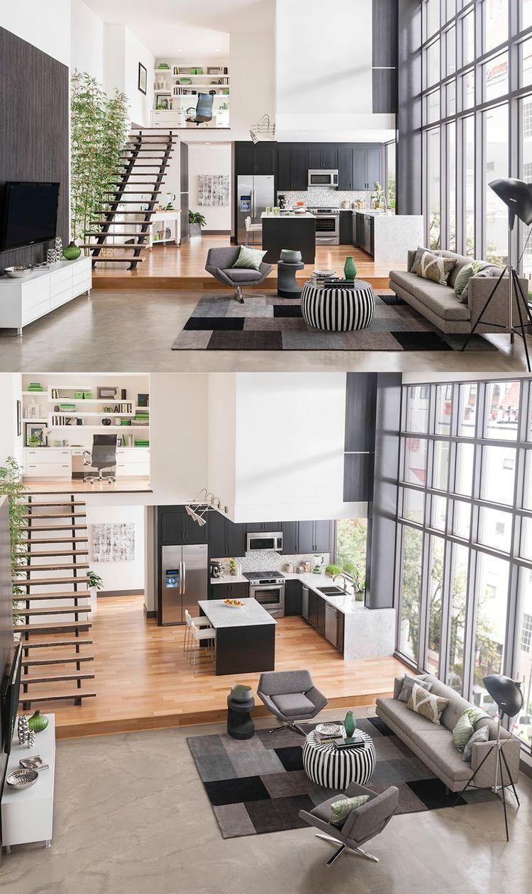 Open loft bedroom ideas  Open floor plan with living room kitchen and stairs  Hus