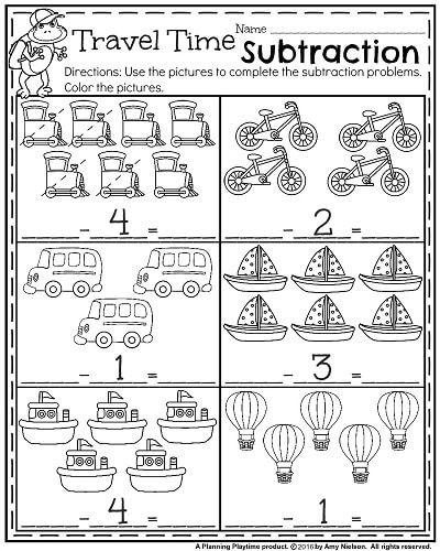Back To School Kindergarten Math Worksheets Travel Time Subtraction Kindergarten Math Kindergarten Math Worksheets Go Math Kindergarten Travel worksheets for kindergarten