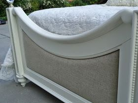 SOLD. SOLDThe most precious bed ever!  Twin size bed refinished in creamy cottage white and reupholstered with an oatmeal linen fabric.  The...