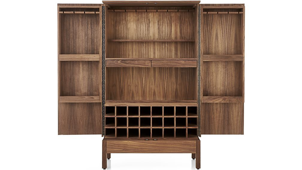 Victuals Walnut Bar Cabinet | Crate and Barrel - too expensive but really cool.