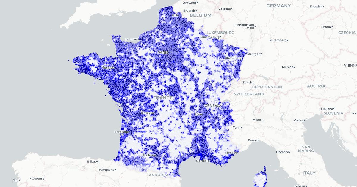 Carte de France du réseau mobile — Map created by François