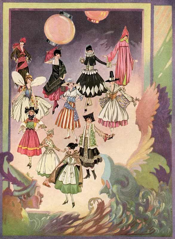 Beautiful 1920\u2032s Vintage Halloween Costume Illustrations