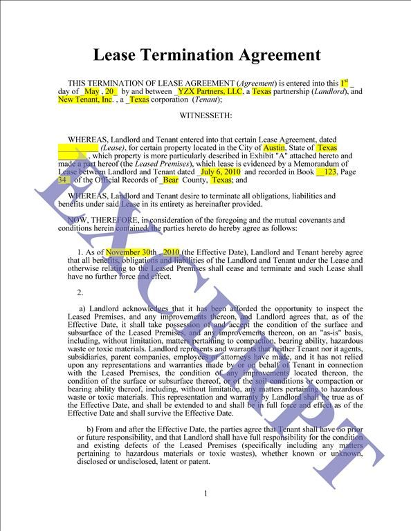 Lease Termination Agreement – Commercial Lease Termination Agreement