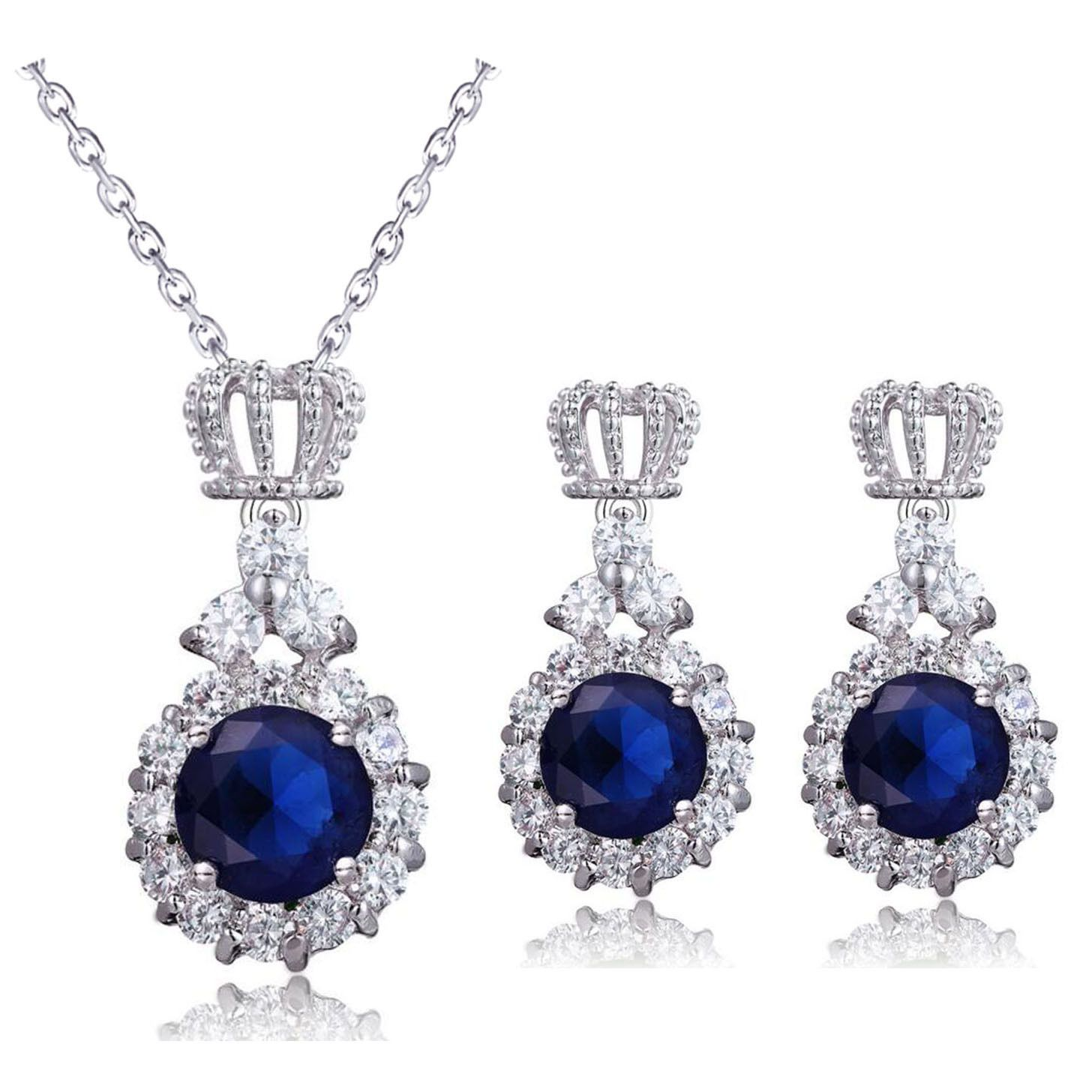 Luxury princess prom party evening crown jewellery set earrings