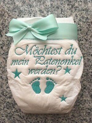 Personalisierte Bestickte Windel mit Schleife Baby Geschenk Taufe Hebamme