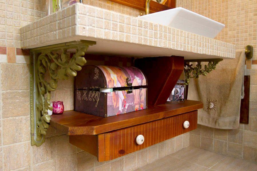 mueble bajo lavabo estante de madera maciza con cajn