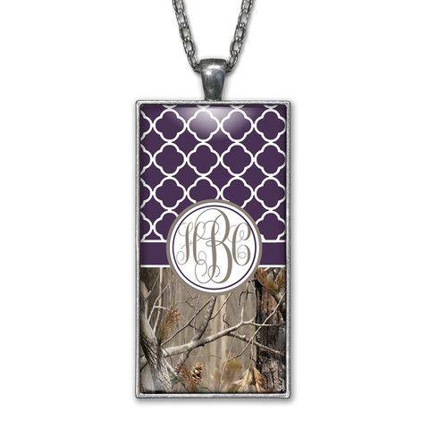 Dark Purple Quatrefoil Camo Monogram Pendant Charm Necklace Personalized Country Girl Silver Jewelry