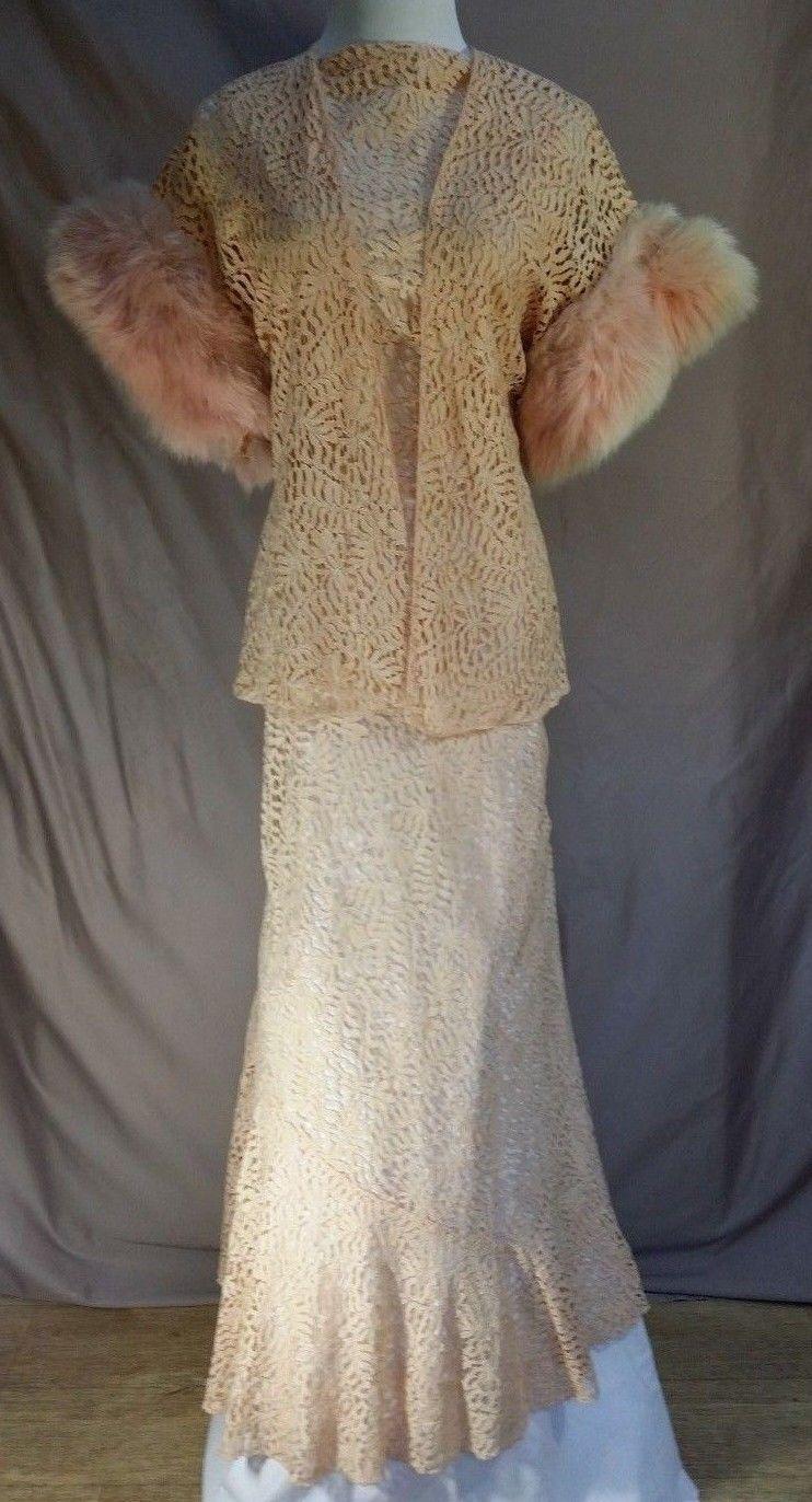 Evening gown u jacket s pink lace brocade wjacket wfur