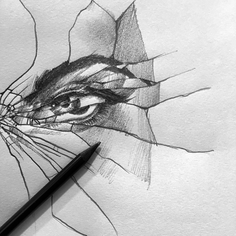 Eye brokenglass glass mirror broken drawing sketch for Mirror drawing