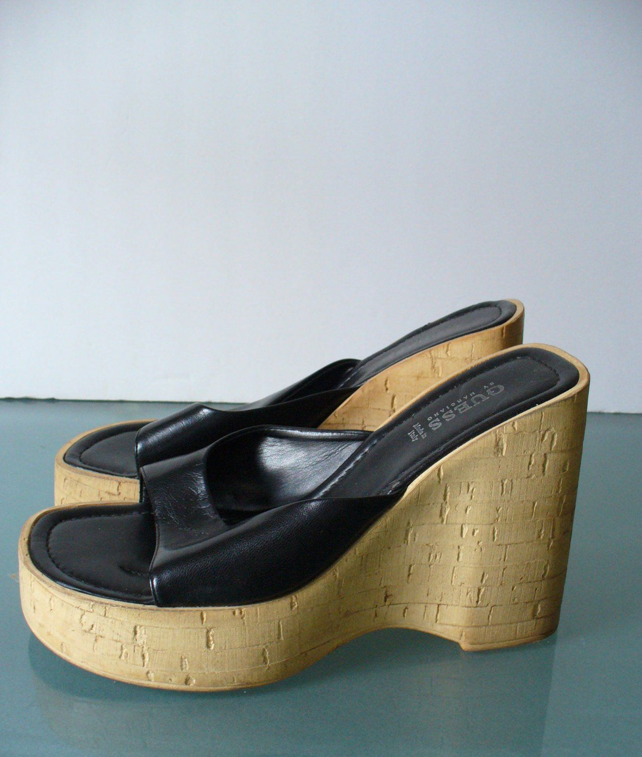 ea866c2980e Guess Made in Italy Cork & Leather Platform Sandals Size 9 US in ...