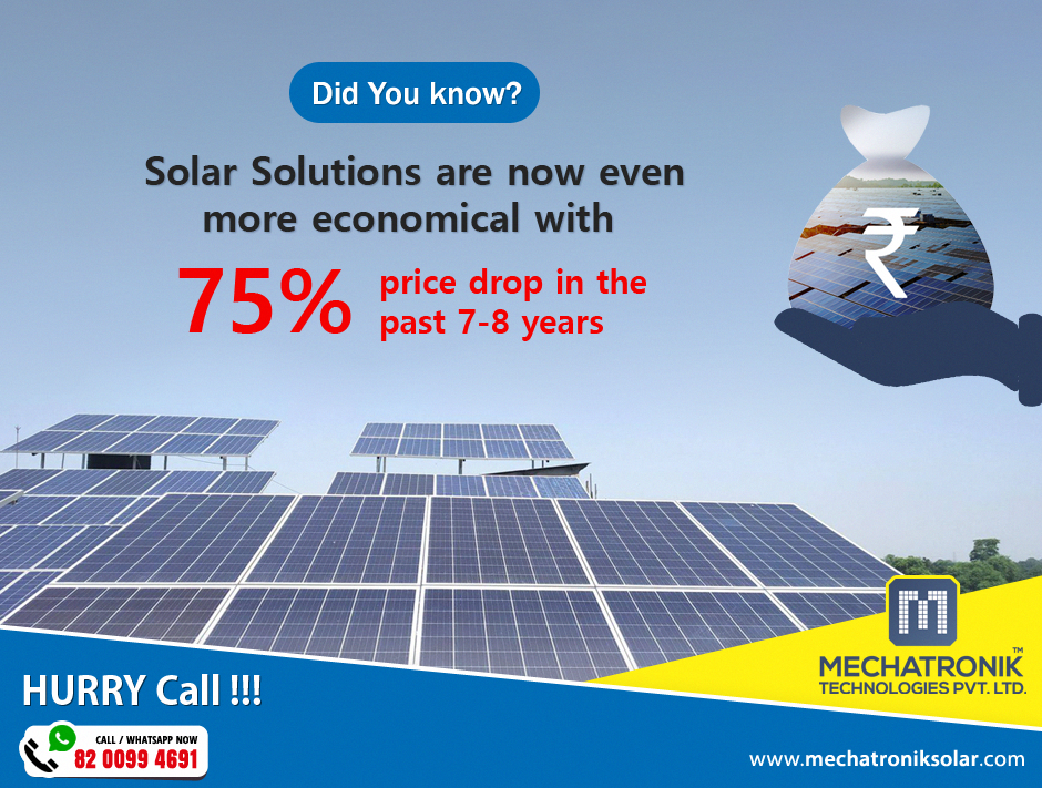 Did You Know Solar Solutions Are Now Even More Economical With 75 Price Drop In The Past 7 8 Years Thinking About In 2020 Solar Solutions Solar Solar Energy System