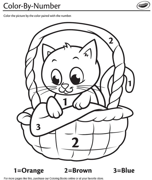 Kitten In A Basket Color By Number On Crayola Com In 2020 Coloring Pages Coloring Books Kittens Coloring