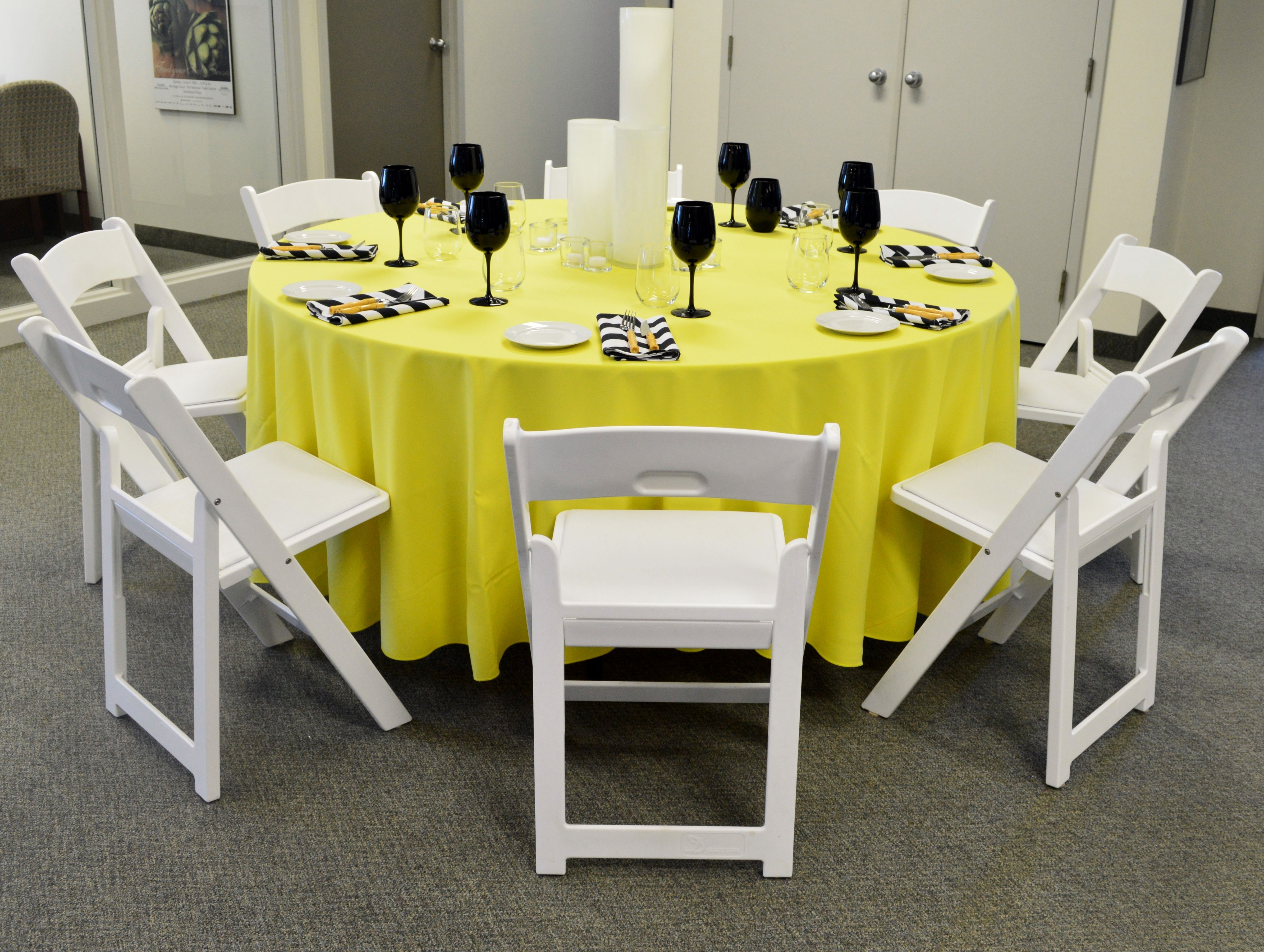 White Resin Folding Chair Bright Yellow Table Linen Bamboo