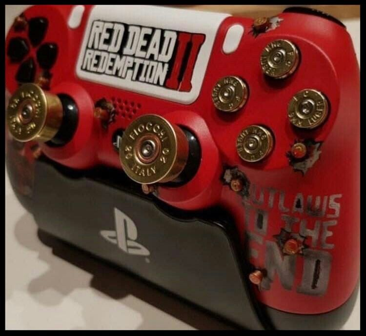 Red Dead Redemption 2 Ps 4 Controller Red Dead Redemption Playstation Controller Gamer Room