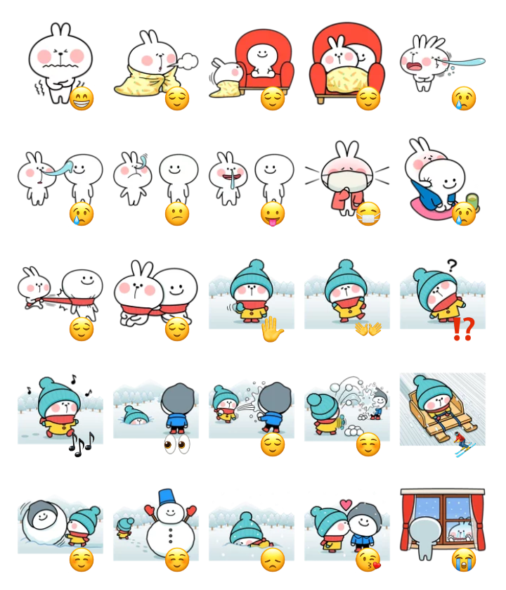 Spoiled rabbit winter stickers set