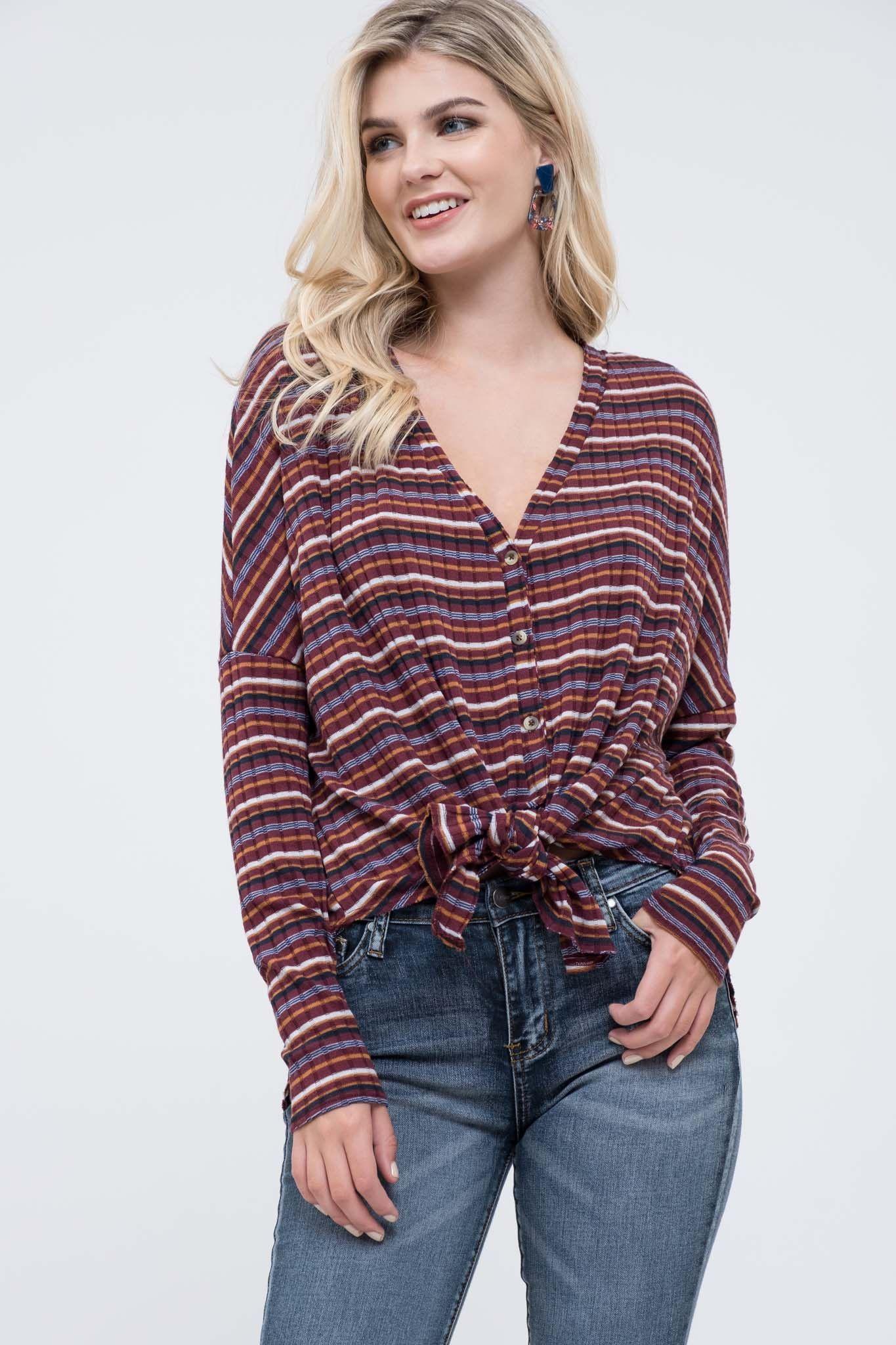 c769d3f67 Button Down Stripe Knit Cardigan SKU D8FJ1036 Wholesale Boutique Clothing