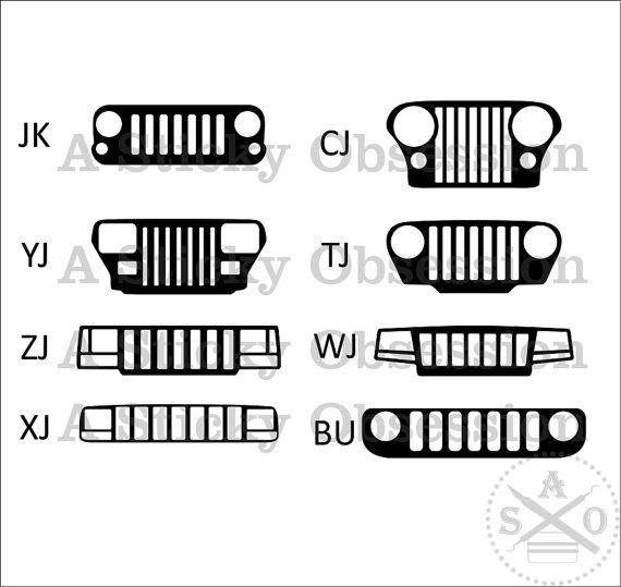 Jeep Wrangler Cherokee Grill Decals Sticker Choose Between The Jk