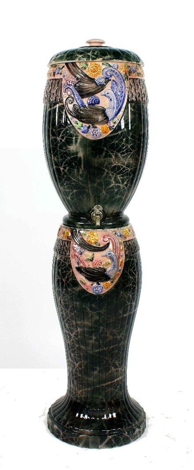 travail art d co des ann es 30 fontaine en fa ence d cor stylis h 118 cm le calvez. Black Bedroom Furniture Sets. Home Design Ideas