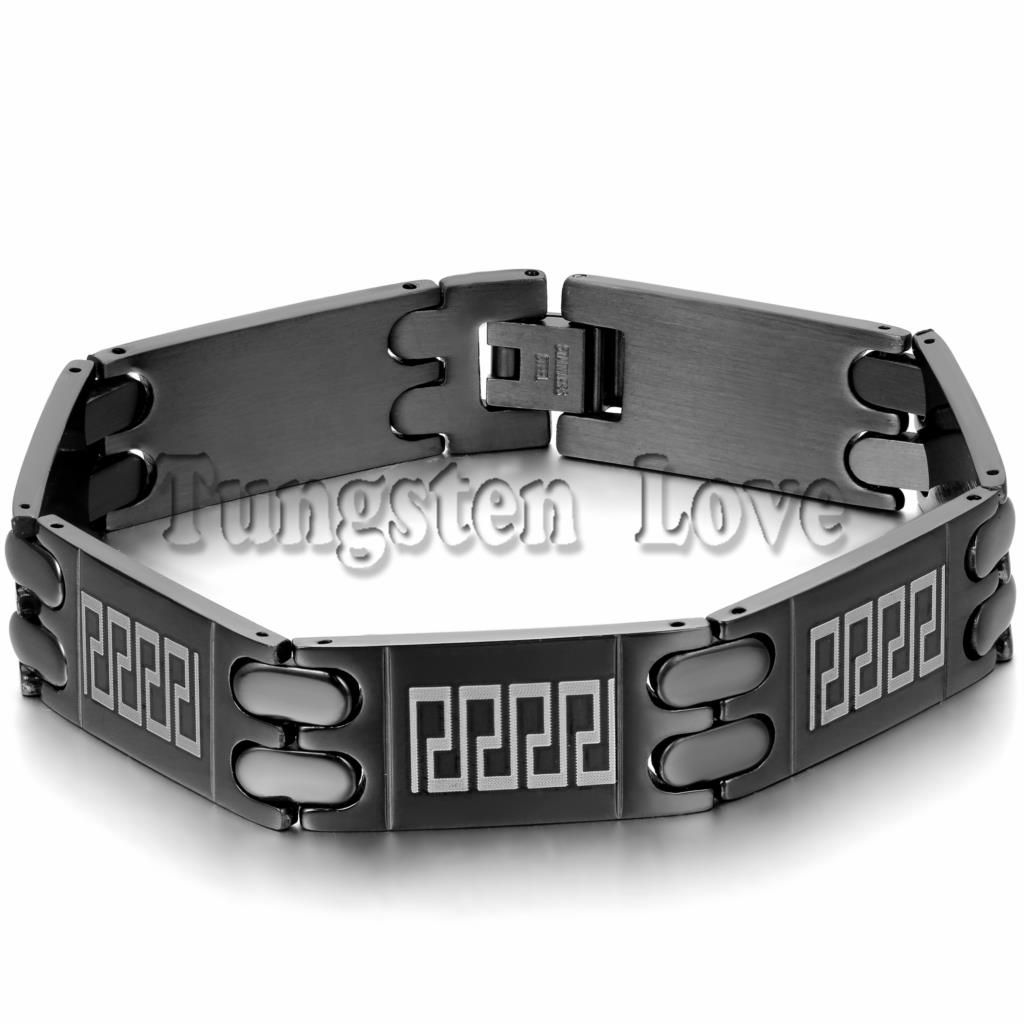 Click to buy ucuc new black punk mens stainless steel bracelet classic