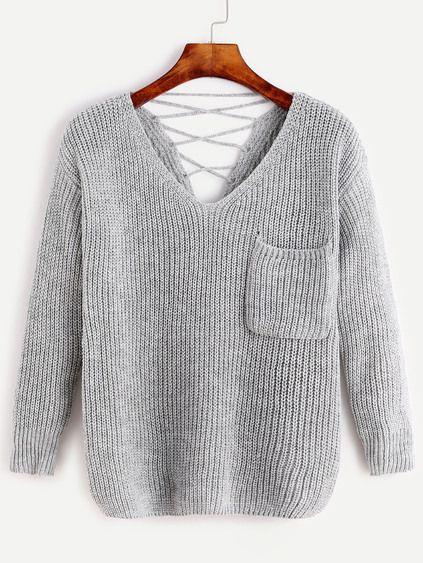 Pale Grey V Neck Lace Up Back Pocket Sweater Mobile Site