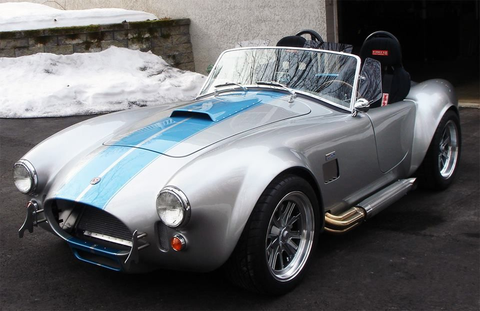 1965 Shelby Cobra Silver W Blue Racing Stripes Shelby Cobra