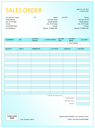 Attractive Sales Order Form Template Excel Sales Order Template In DOTX
