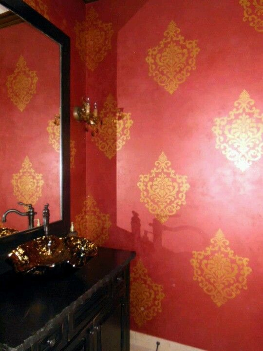 Wall Stencil In Red And Gold Lovely Damask Wall Damask Wall
