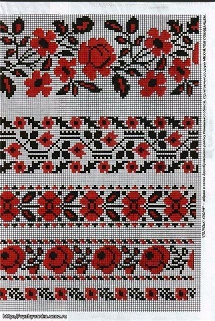 Схема орнаментов на вышиванку