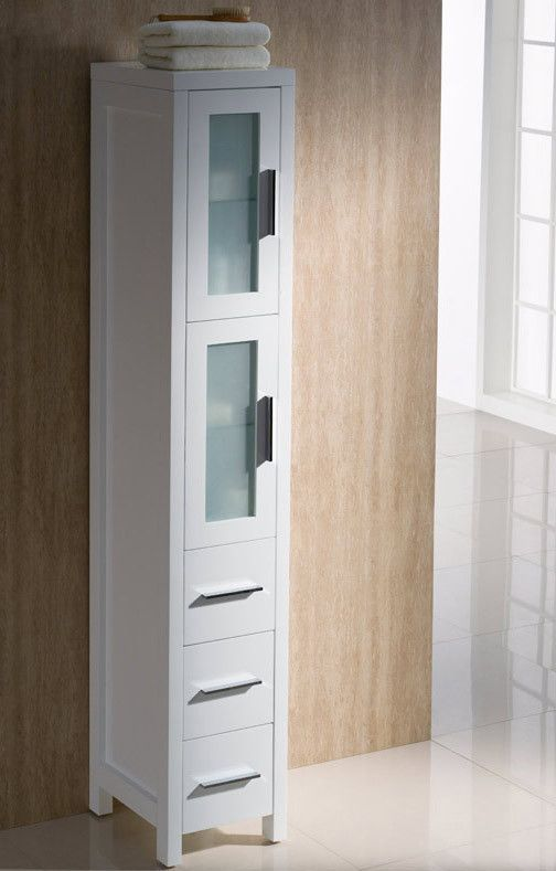 Fresca Torino White Tall Bathroom Linen Side Cabinet Tall White Bathroom  Cabinet, White Bathroom Decor