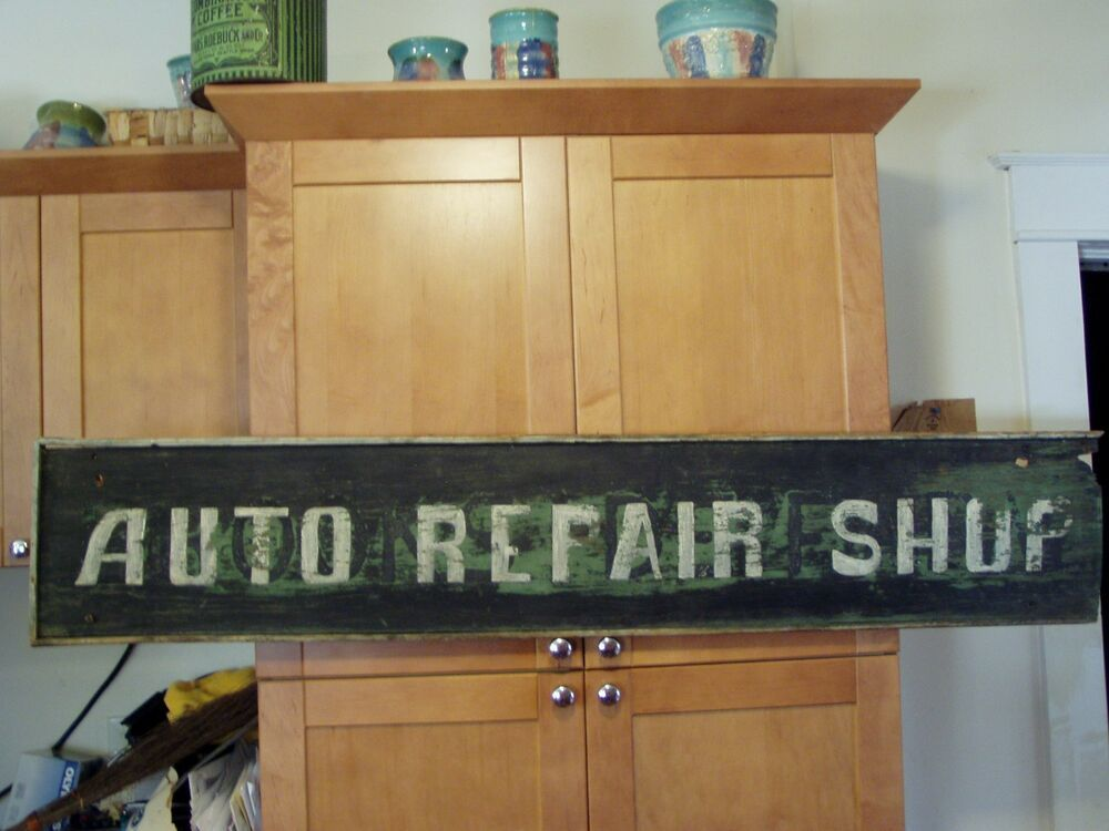 AUTO REPAIR SHOP Trade Sign ca 1920's Maine Great Colors ...