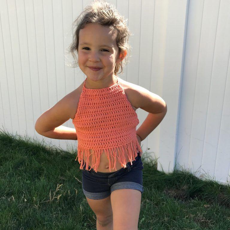 Crochet kids crop top Boho beige toddler baby open back